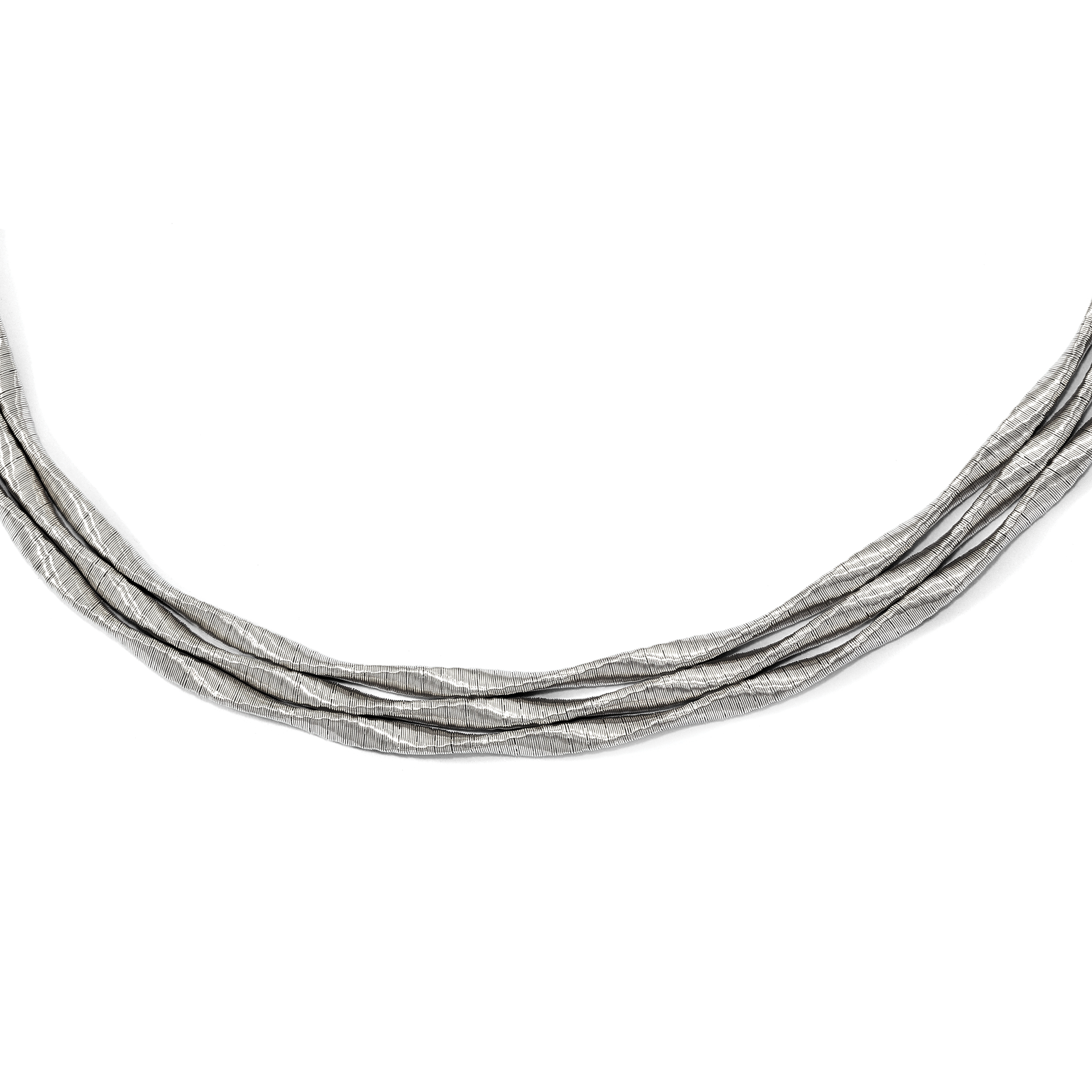 Leslies Sterling Silver Rhodium-plated 3-strand with 2in ext Necklace; 17 inch