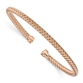 Sterling Silver Rose Gold-plated Polished Woven Cuff Bangle