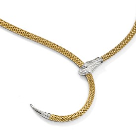 Sterling Silver Gold-plated Adjustable Snake Necklace
