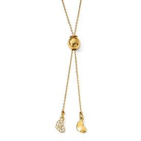 Sterling Silver Gold-plated CZ Adj. Necklace