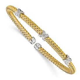 Sterling Silver Gold-tone CZ Woven Cuff