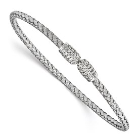 Sterling Silver Rhodium-plated CZ Woven Cuff