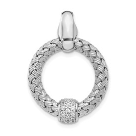 Sterling Silver CZ Polished Woven Pendant