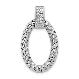 Sterling Silver Polished with CZ Braided Oval Pendant