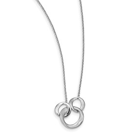 Sterling Silver Polished & Brushed Circles w/1 in ext Necklace