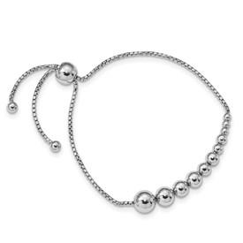 Sterling Silver Polished Beaded Adjustable Bracelet