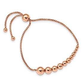 Sterling Silver Polished Rose Gold-plated Adj Bracelet