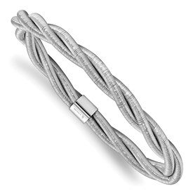 Sterling Silver Rhodium Textured Twisted Slip-on Bangle