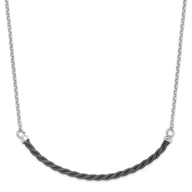 Sterling Silver Rhodium & Ruthenium w/2.5 in ext Necklace
