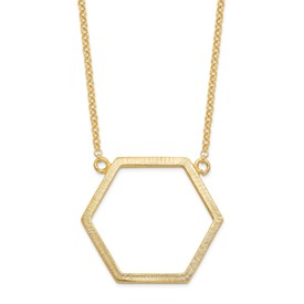 Sterling Silver Gold-tone Hexagon w/2 in ext Necklace