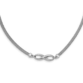 Sterling Silver Textured & Polished Infinity w/.75 in ext Necklace