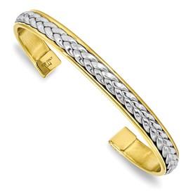 Sterling Silver Gold-tone Polished Cuff Bangle