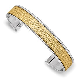 Sterling Silver & Leather Polished & Textured Cuff Bangle