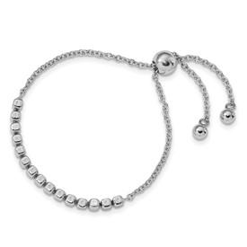 Sterling Silver Polished Square Beads Adjustable Bracelet