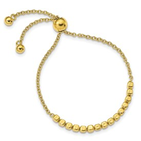 Sterling Silver Gold-tone Polished Square Beads Adj Bracelet
