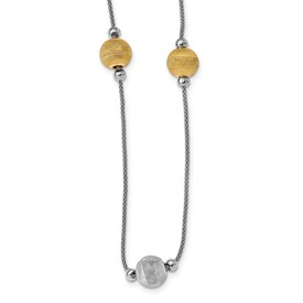 Sterling Silver Yellow Rhodium Polished & Laser Cut Bead Necklace