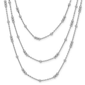 Sterling Silver Polished Adjustable 3 Strand Necklace