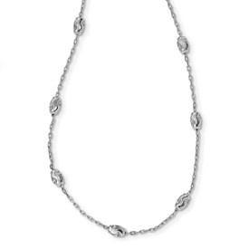 Sterling Silver Polished & Textured Beaded w/2 in ext Necklace