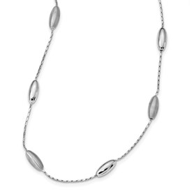 Sterling Silver 18 Polished & Satin w/2 in ext Necklace