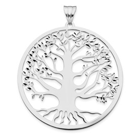 Sterling Silver Polished Tree of Life Pendant