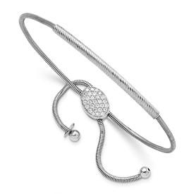 Sterling Silver Polished & Textured CZ Adjustable Bracelet