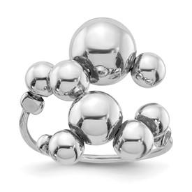 Sterling Silver Polished Beaded Adjustable Ring