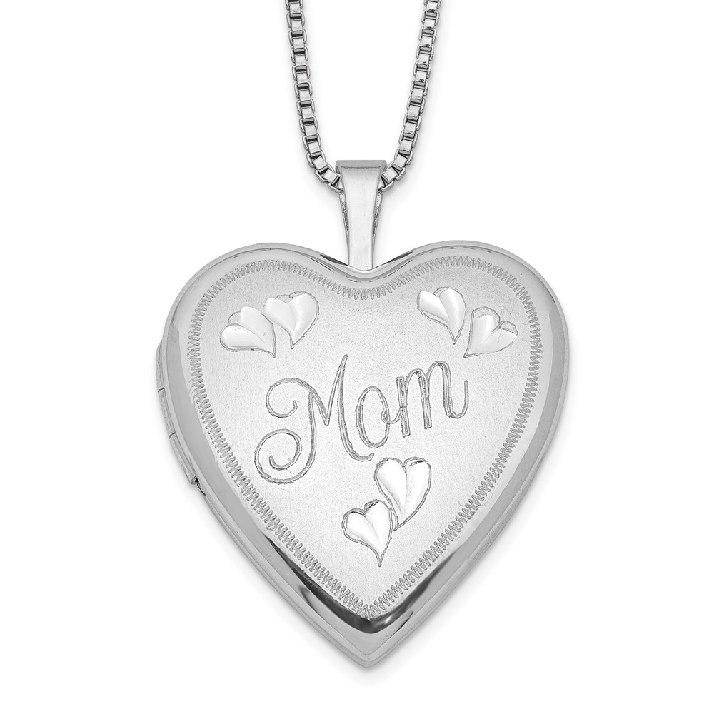 Sterling Silver Rhodium-plated 20mm MOM Heart Locket Necklace