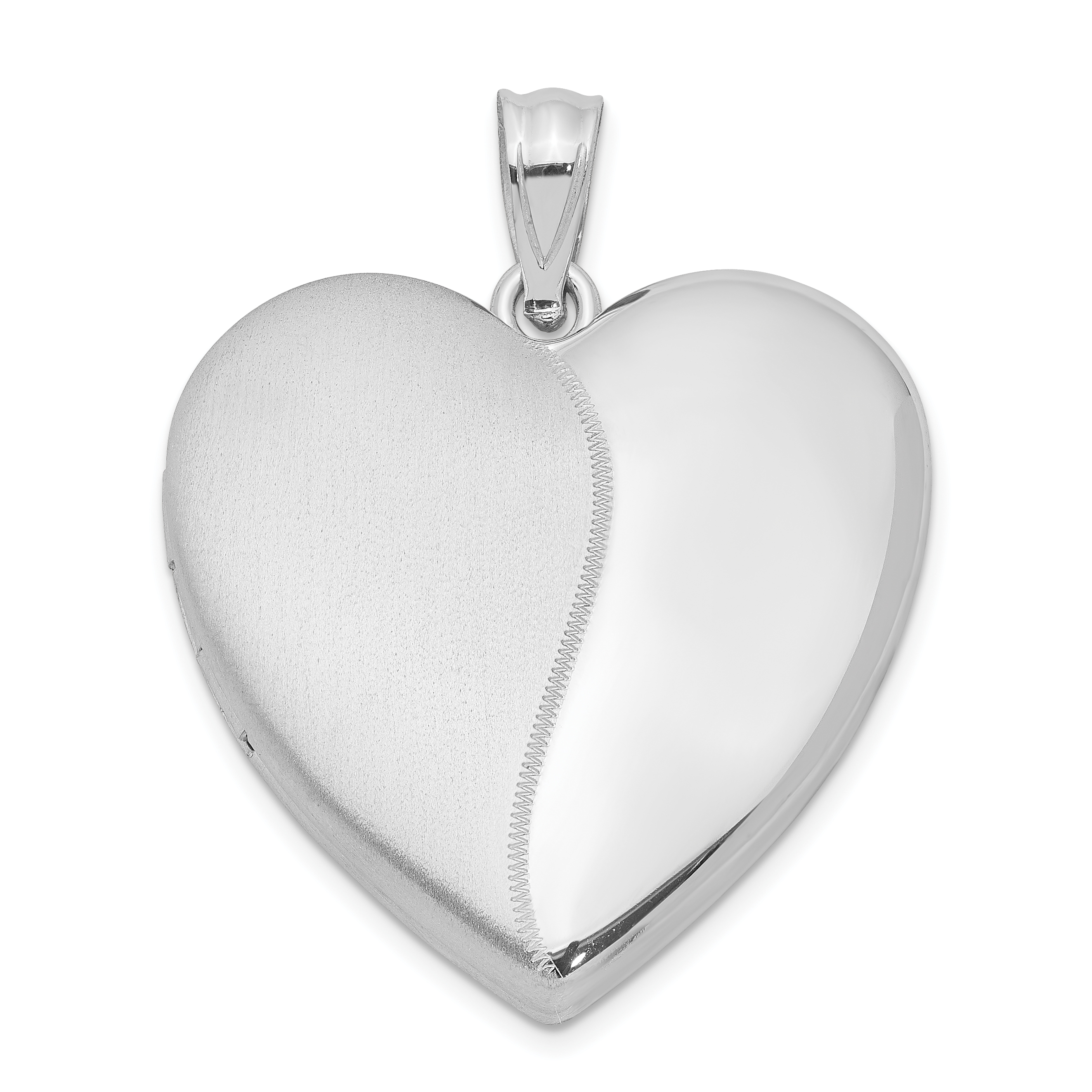 Sterling Silver Rhodium-plated 24mm Polished & Satin Heart Locket | Weight: 4.56 grams, Length: 31mm, Width: 24mm
