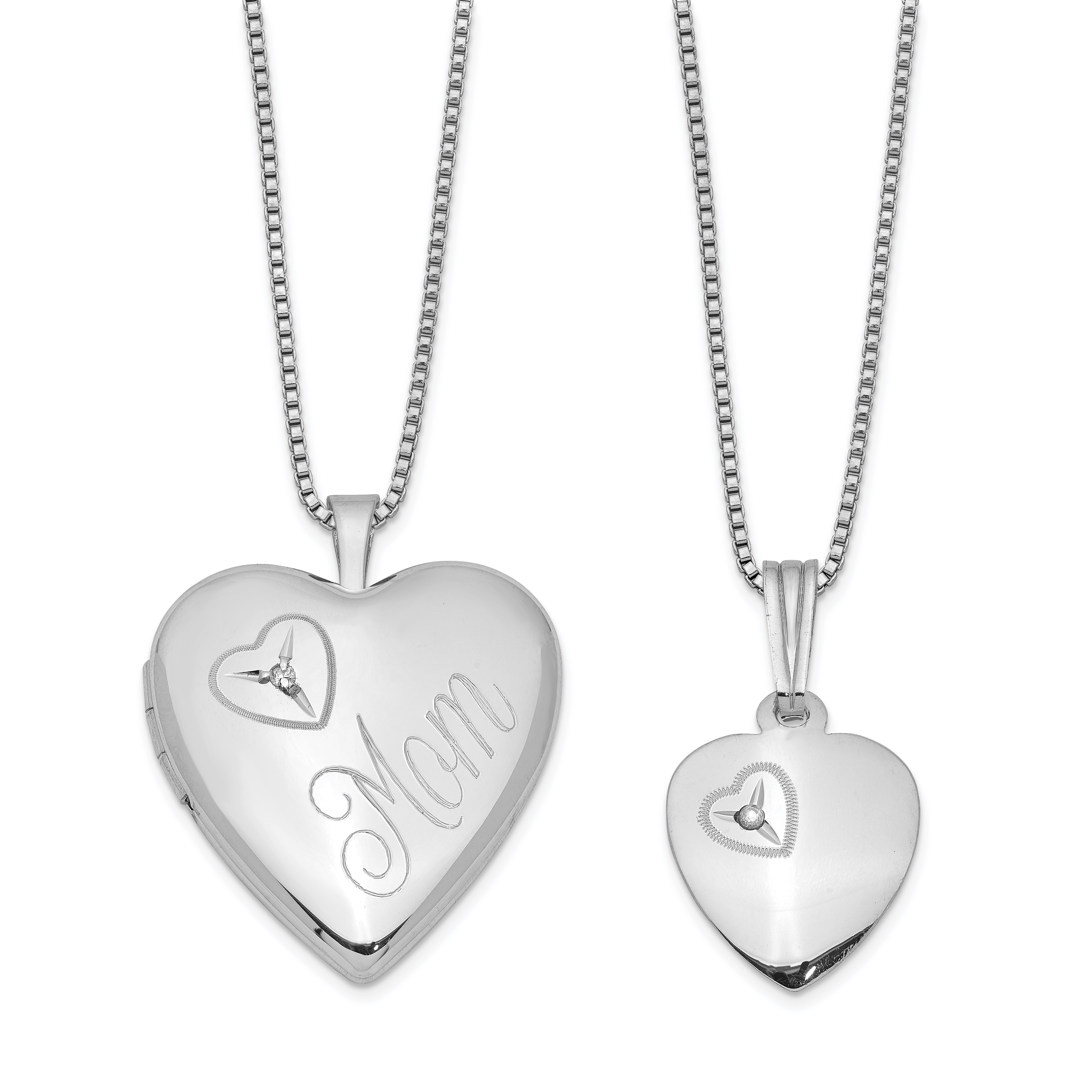 417369cc4ac Sterling Silver Rhodium-plated Diamond Polished Heart Locket   Pendant Set