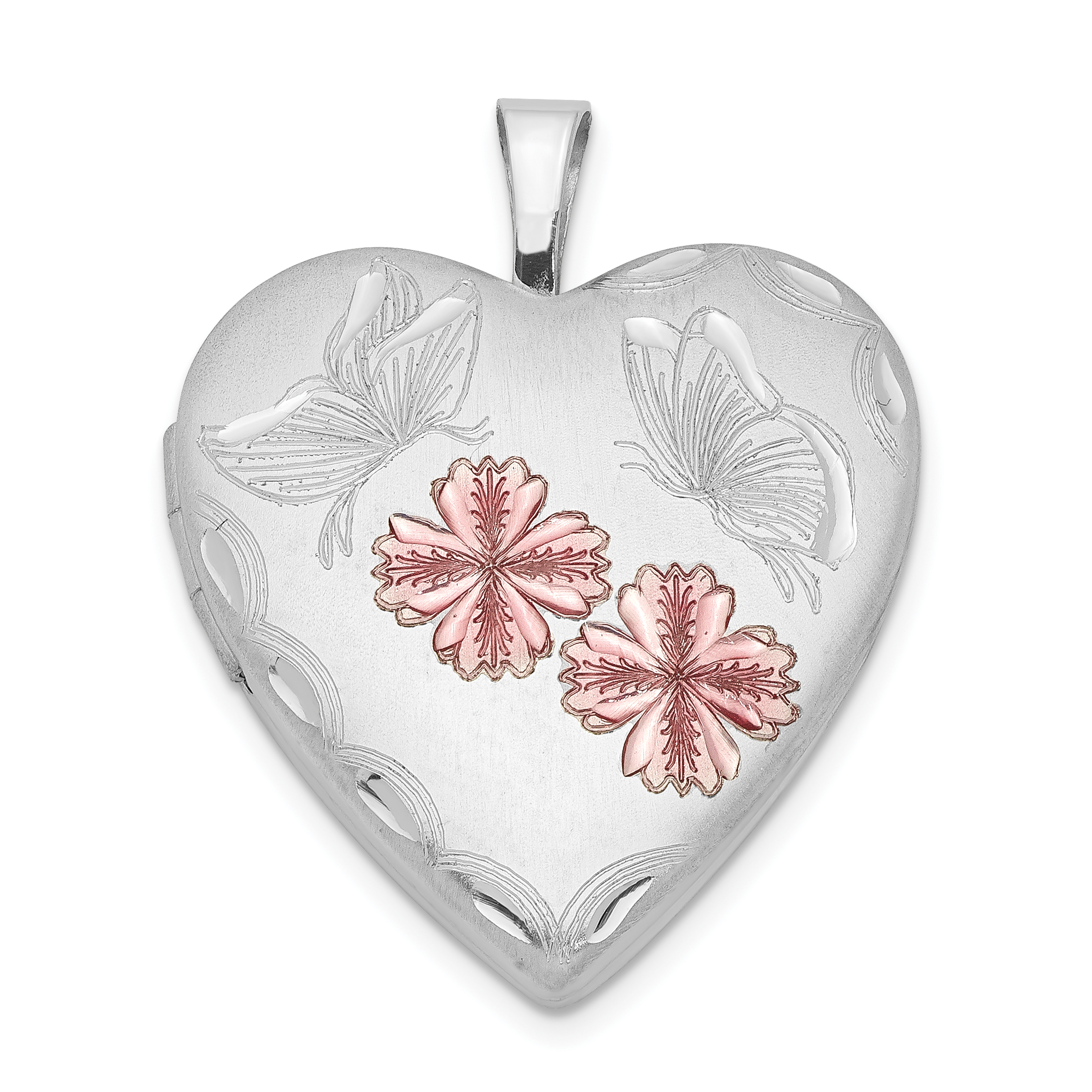 lockets flowers rhodium silver width length locket butterfly sterling grams plated heart weight enameled p