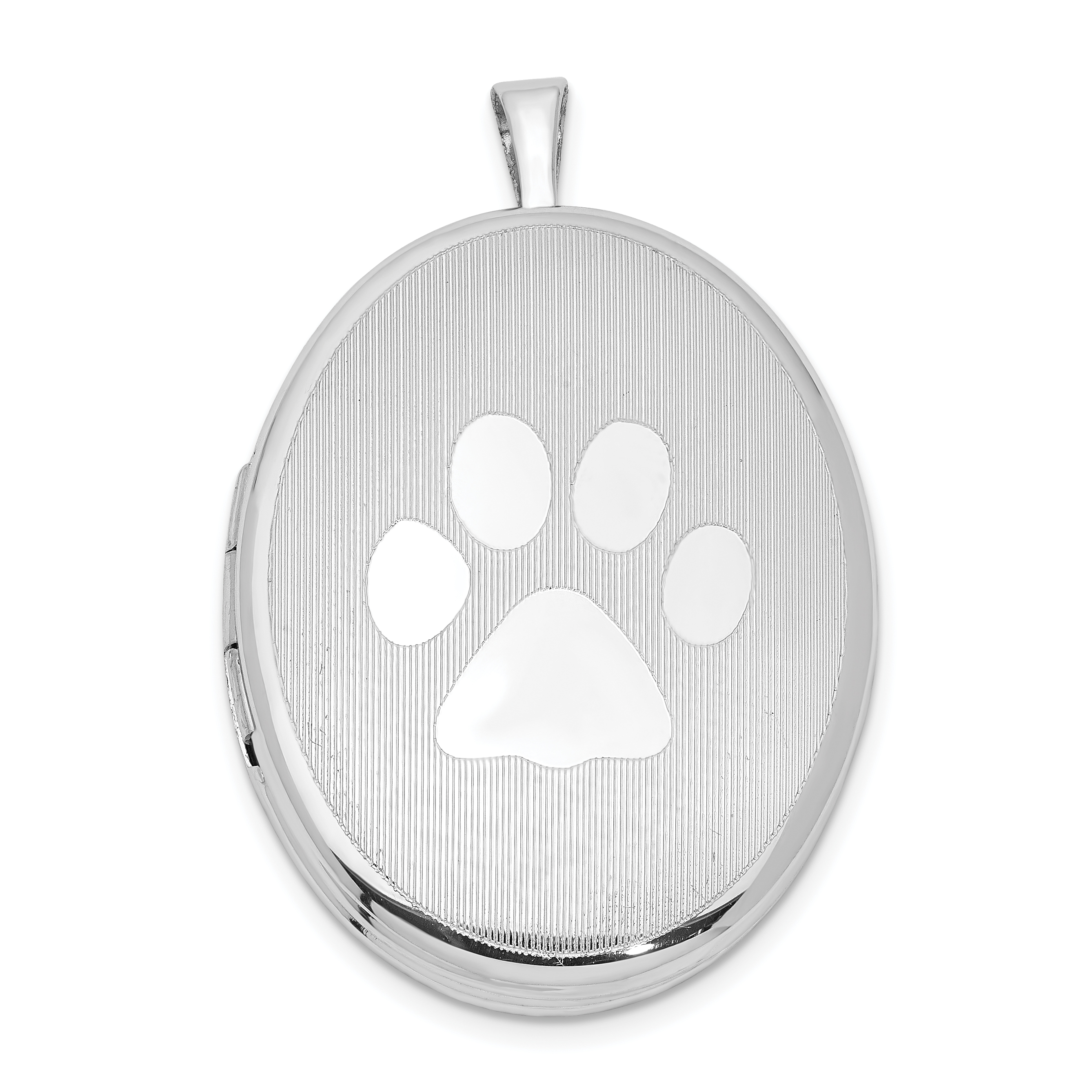 lockets on paw prints oval locket print silver satin polished animal sterling chain