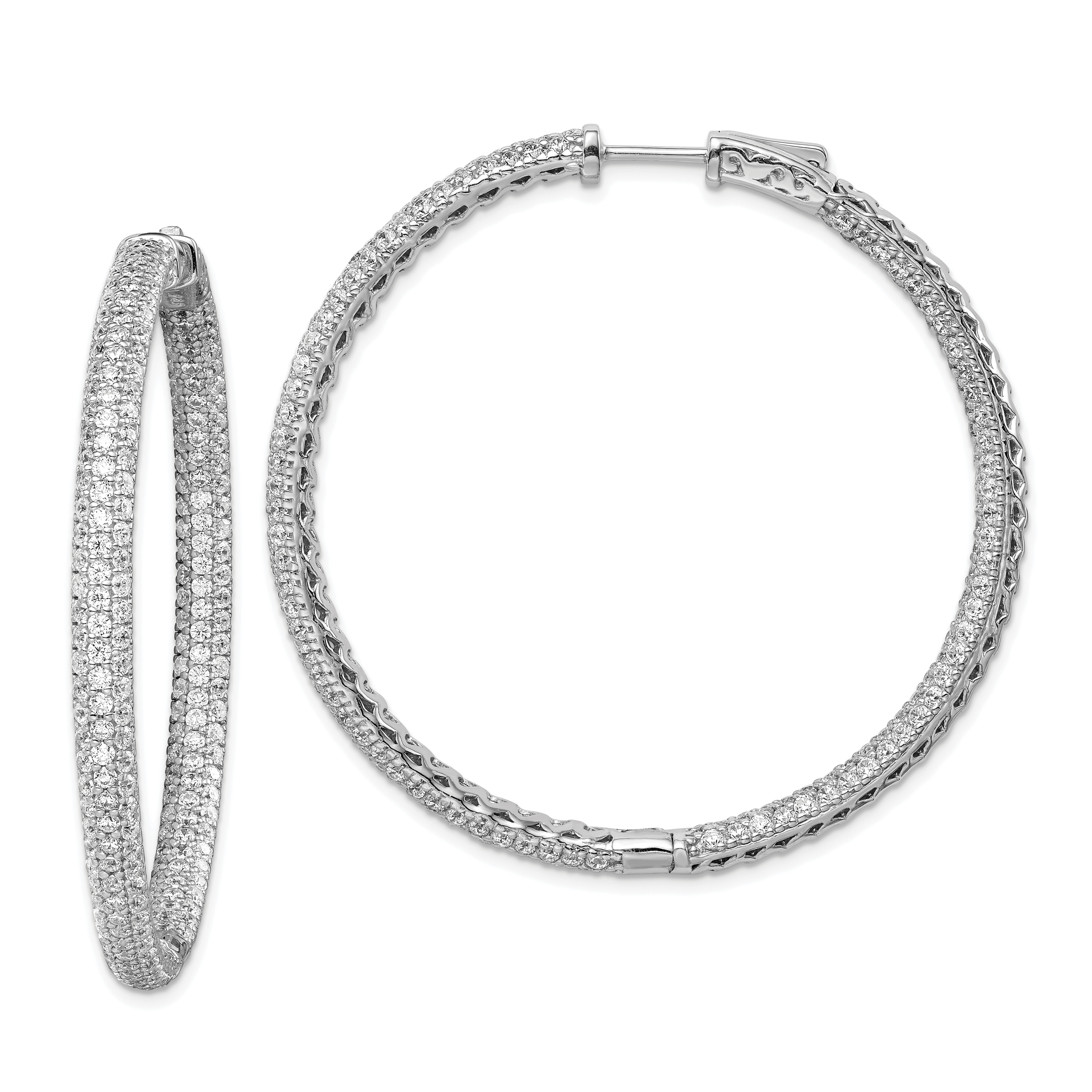 Picture 1 Of 2 Sterling Silver Pav Inch Diameter Cz In And Out Hoop Earrings