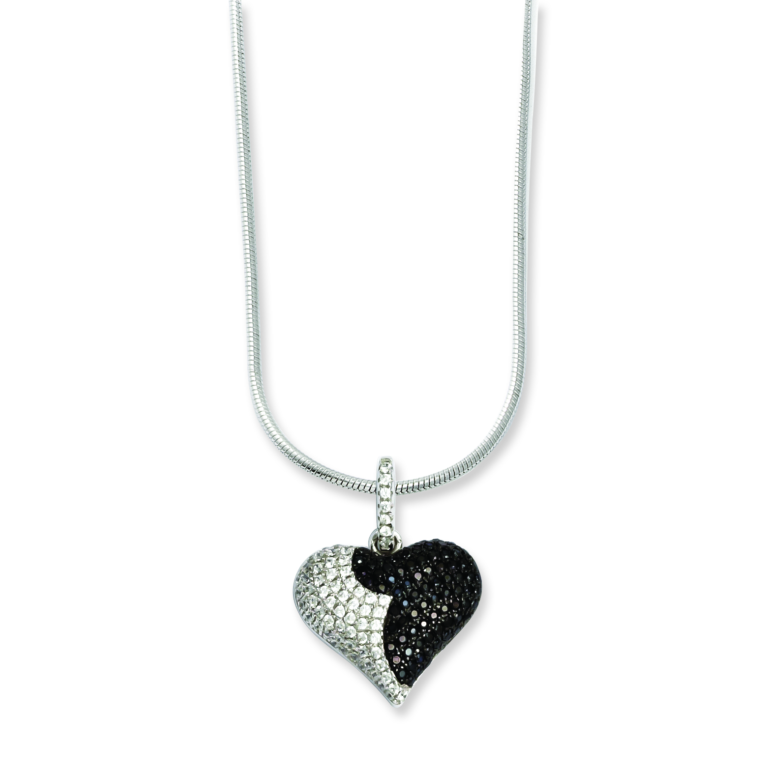 """9/"""" Sterling Silver 11 MM Brilliant Embers CZ Heart Anklet with 1/"""" Extension"""
