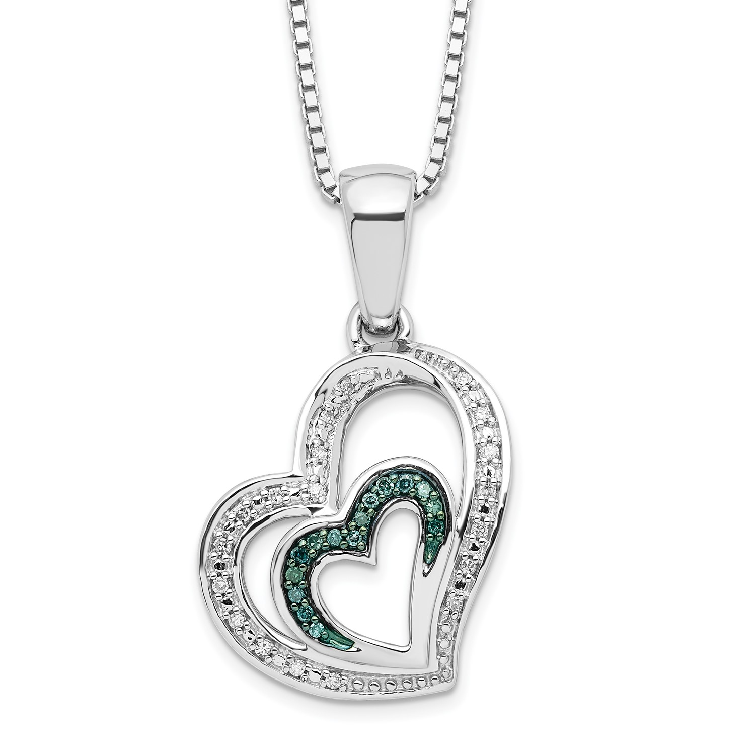 6488830cae690 Details about Sterling Silver W/ Rhodium - plated Blue and White Diamond  Heart Pendant