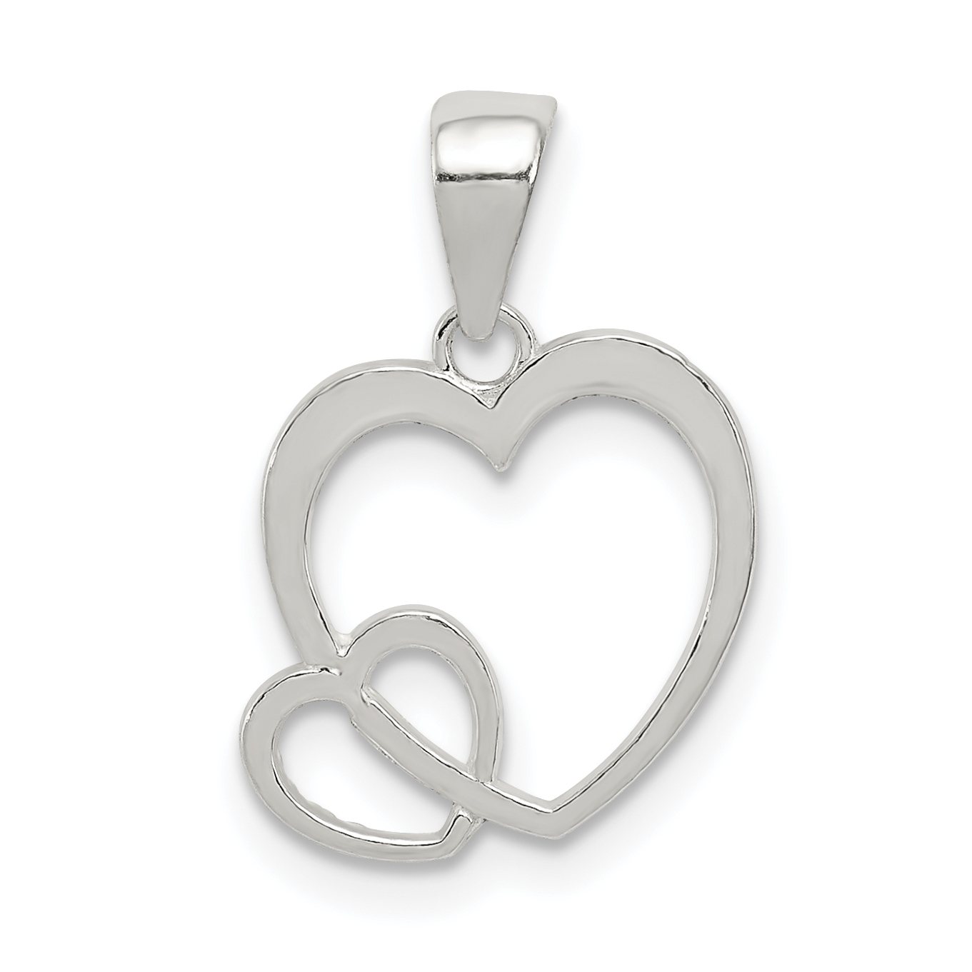 0dfc3cfe164 Sterling Silver Polished Hearts Pendant