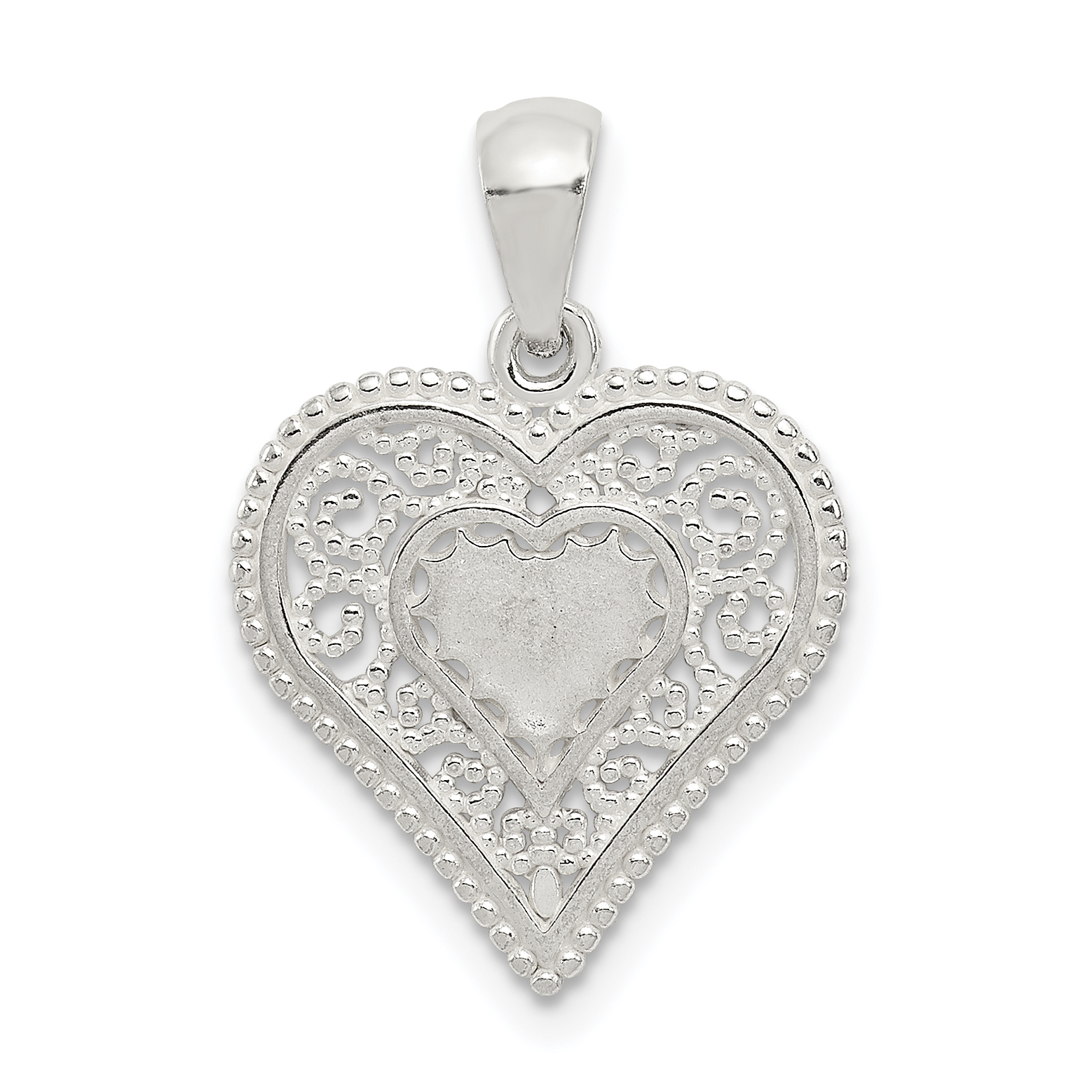 Silver polished filigree heart pendant weight 087 grams length sterling silver polished filigree heart pendant weight 087 grams length mm width mm aloadofball Gallery