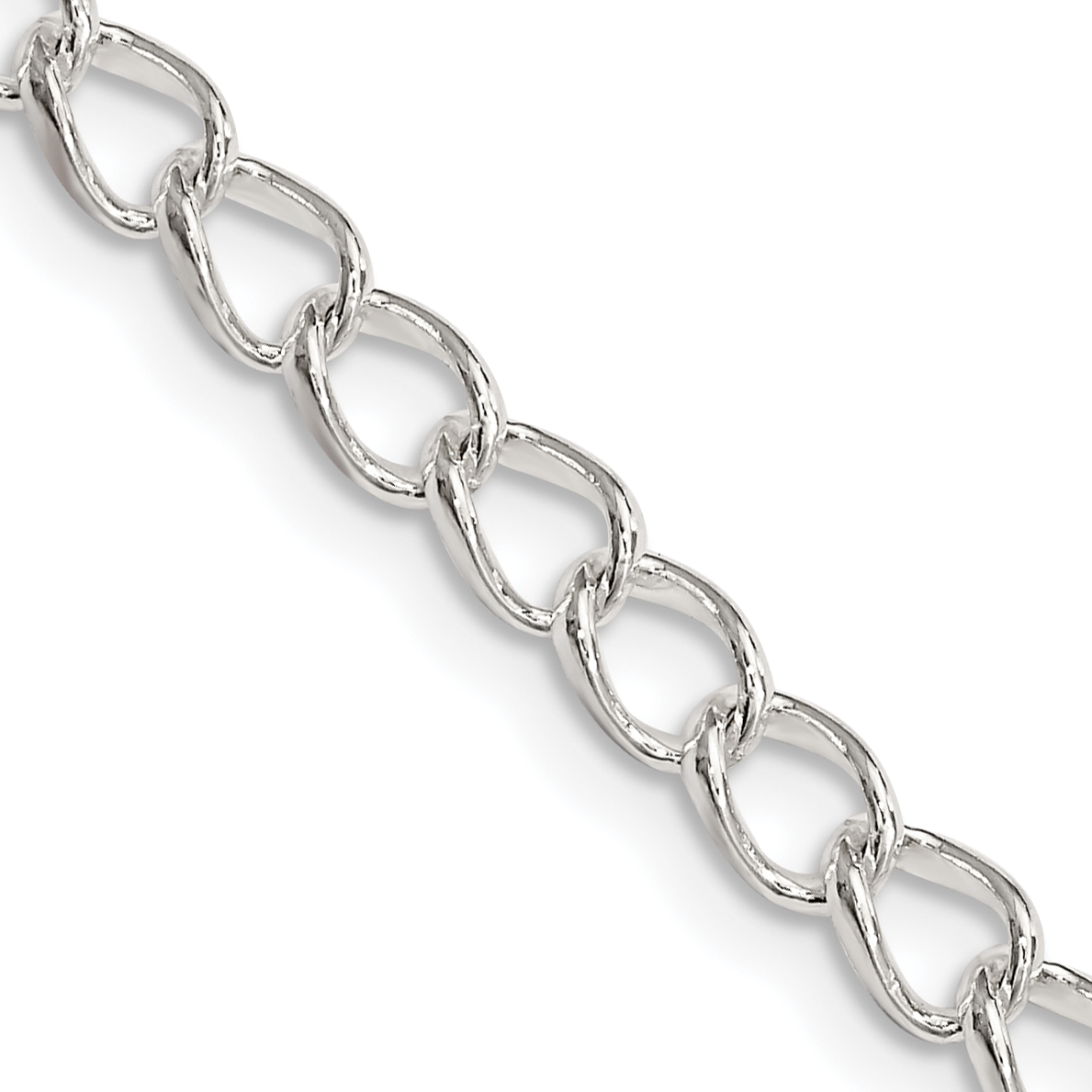 Sterling Silver 4.5mm Half round Wire Curb Chain | Weight: 17.27 ...