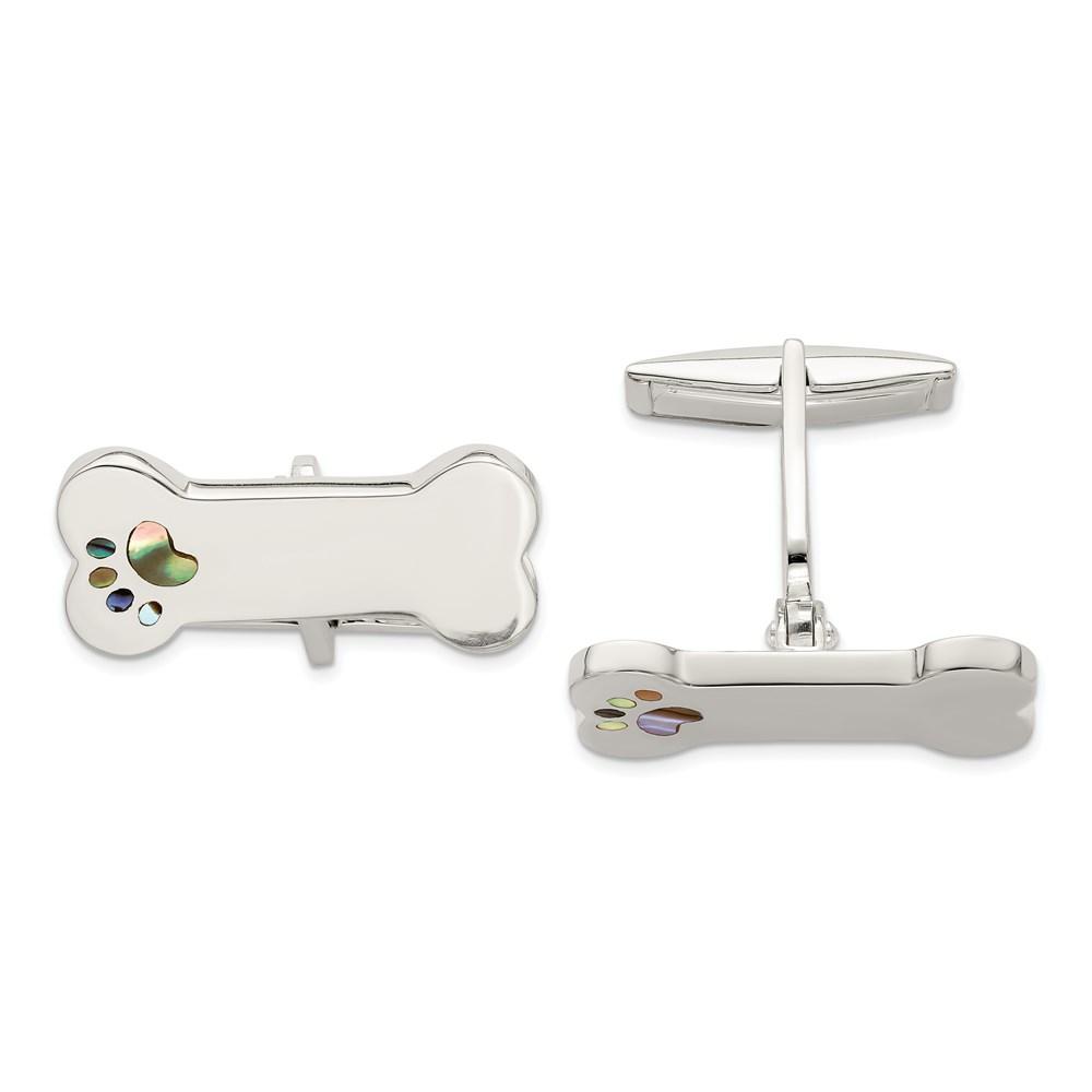 Sterling Silver Dog Bone Abalone Shell Paw Print Cuff Links