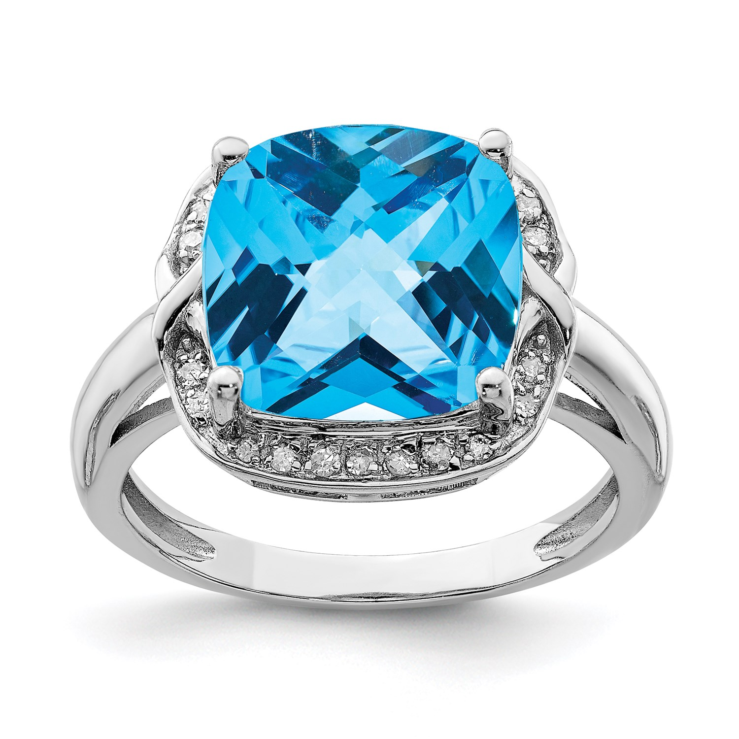 SS Cushion Swiss blueee Topaz & Diamond Ring CT Wt- 6.37ct Met Wt-3.57g