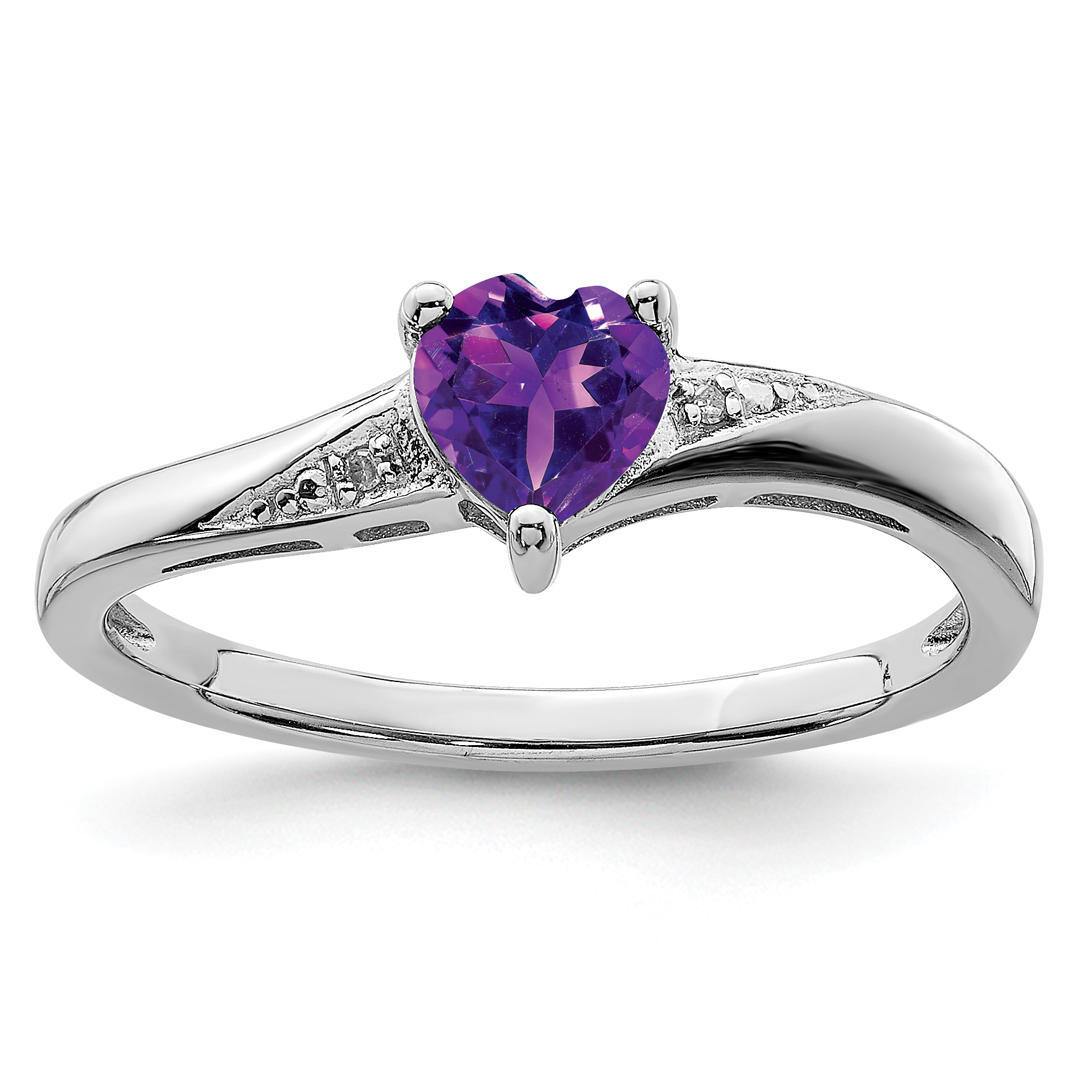 Sterling Silver Rhodium Plated Amethyst and Diamond Ring QR4645AM