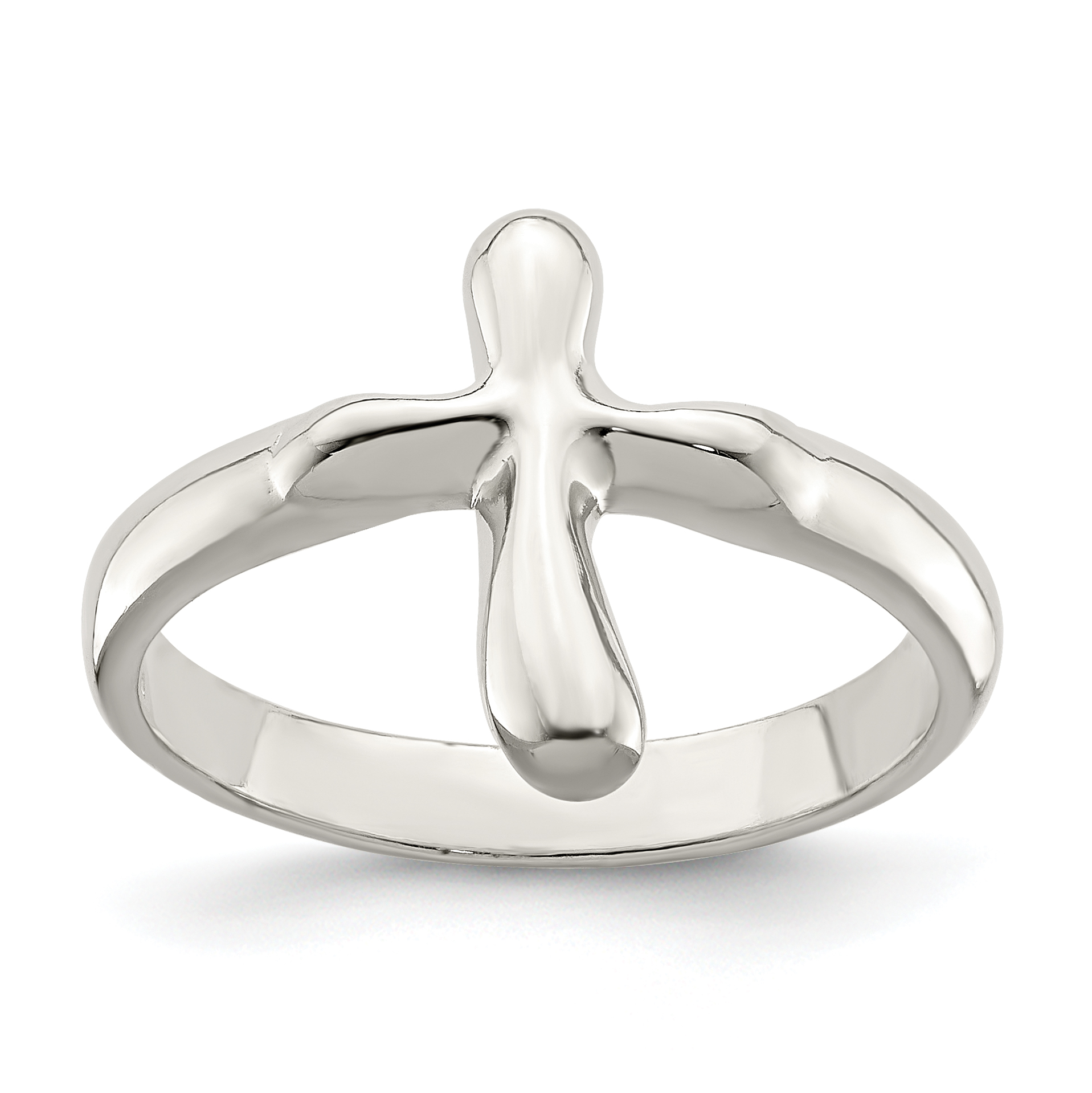 Sterling Silver Themed Ring Solid Silver Rhodium Textured CZ Cross Ring