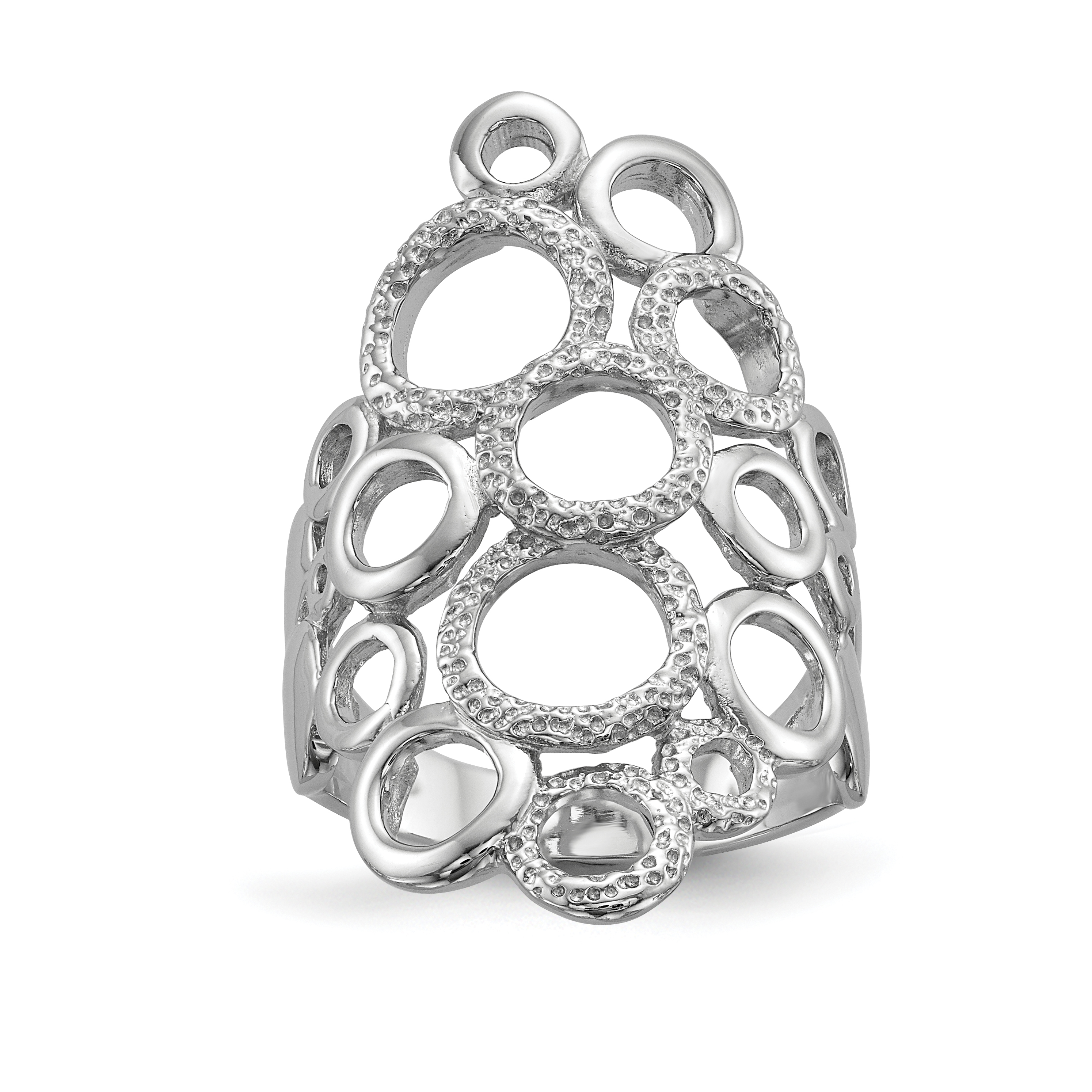 Sterling Silver Rhodium-plated Polished & Textured Circles Ring