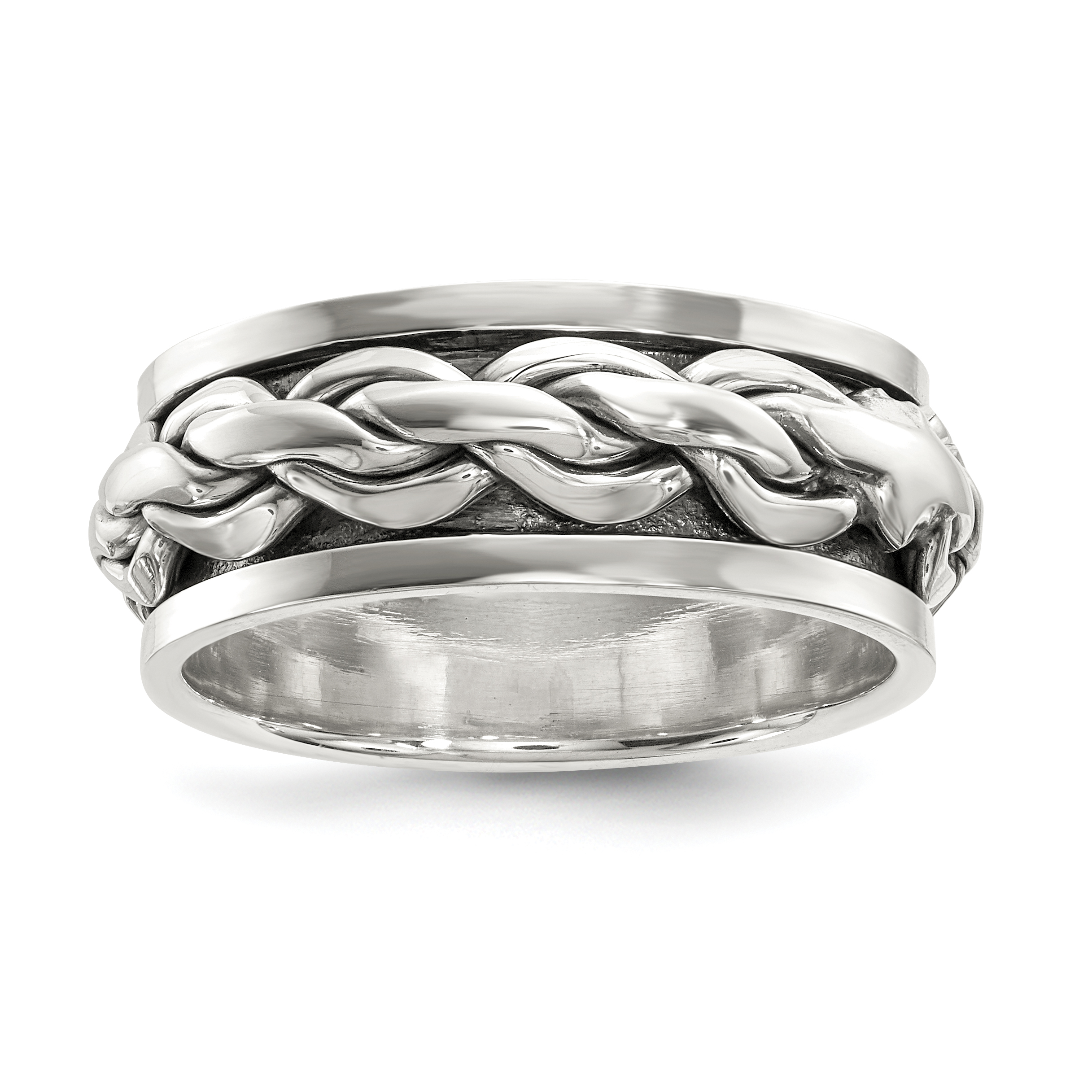 Sterling Silver Polished Spinning Center Antiqued Chain Ring