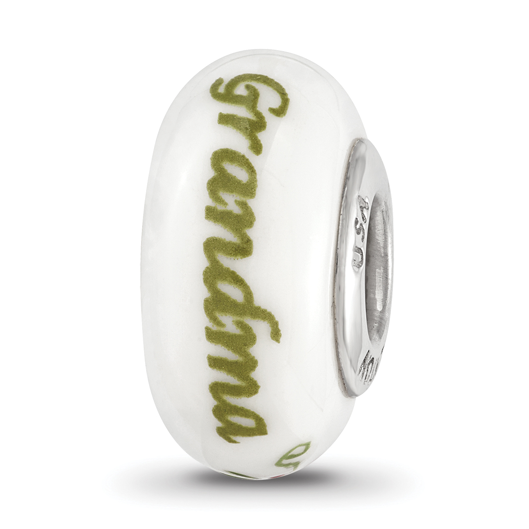 Sterling Silver Ster.Silver Reflections Hand Painted Gamma Phi Beta Fenton Glass Bead