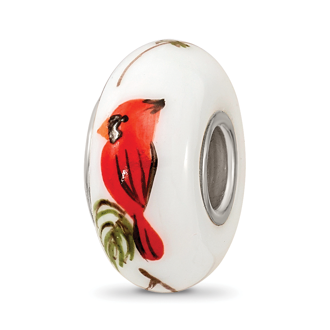 Sterling Silver Reflections White Hand Painted Cardinal Glass Bead