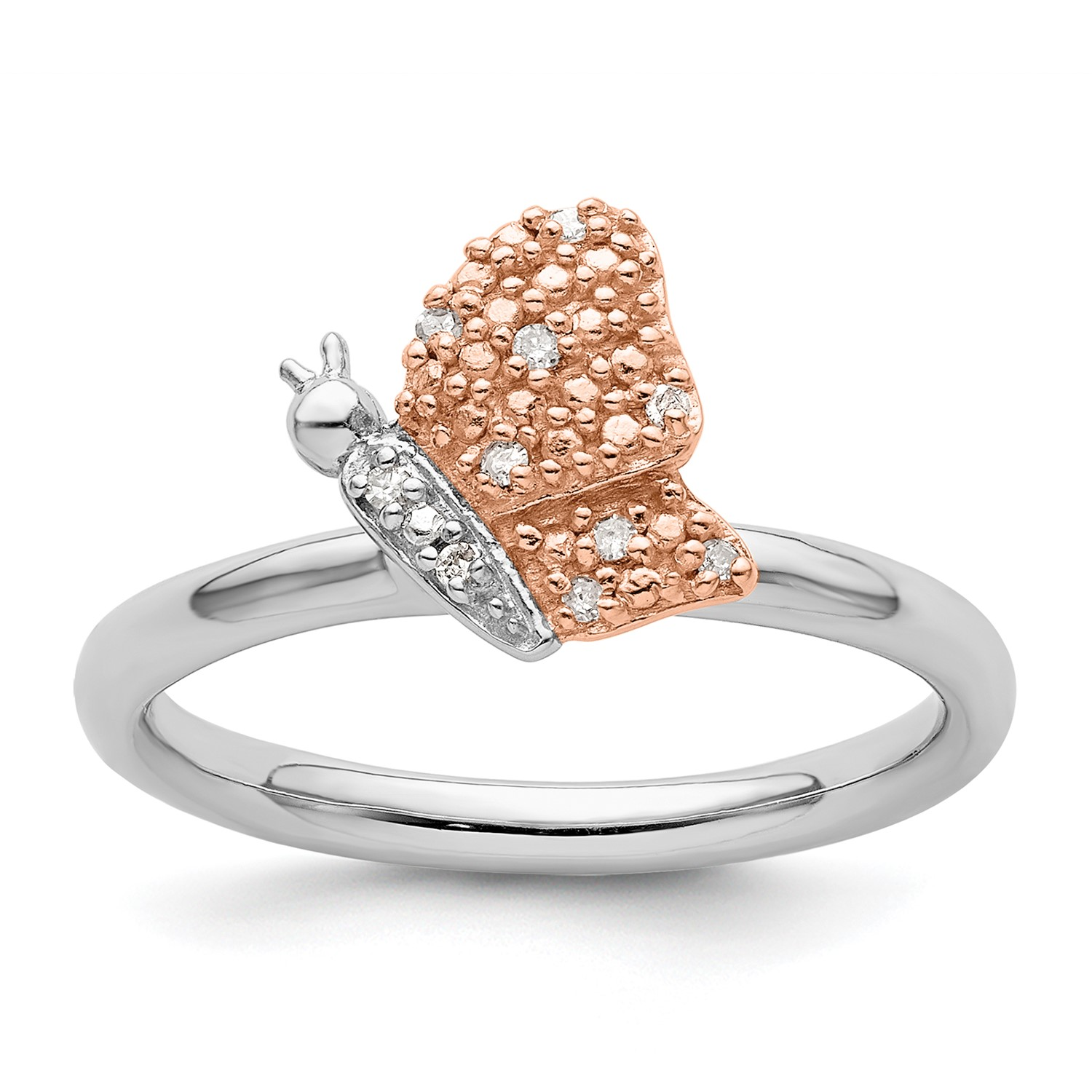 6efdf44c72813 Details about Sterling Silver/Rose Gold-plated Stackable Expressions  Diamond Butterfly Ring