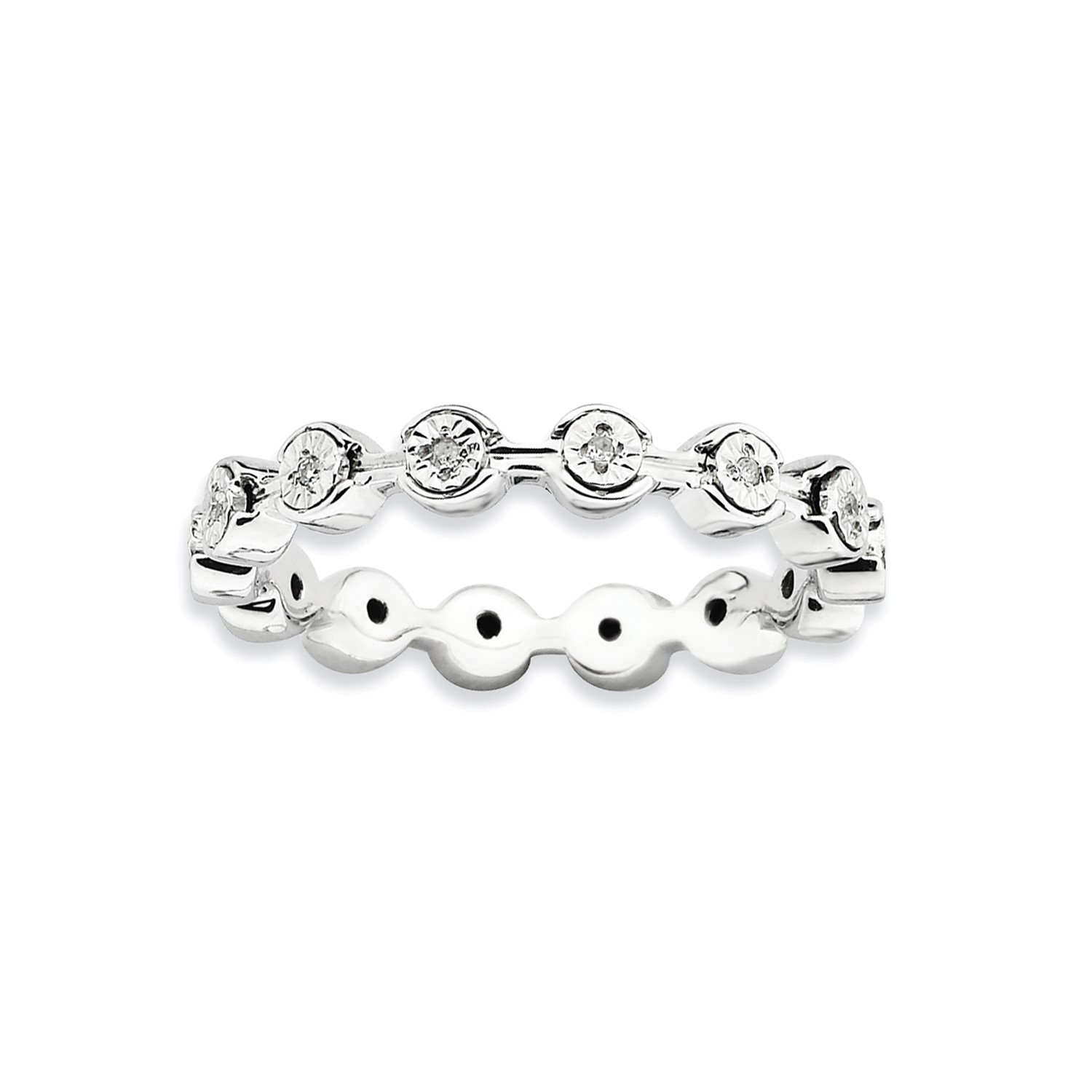 Official Website Sterling Silver W/ Rhod Diversified Latest Designs Pltd Stackable Polished Diamond Ring 3.25mm