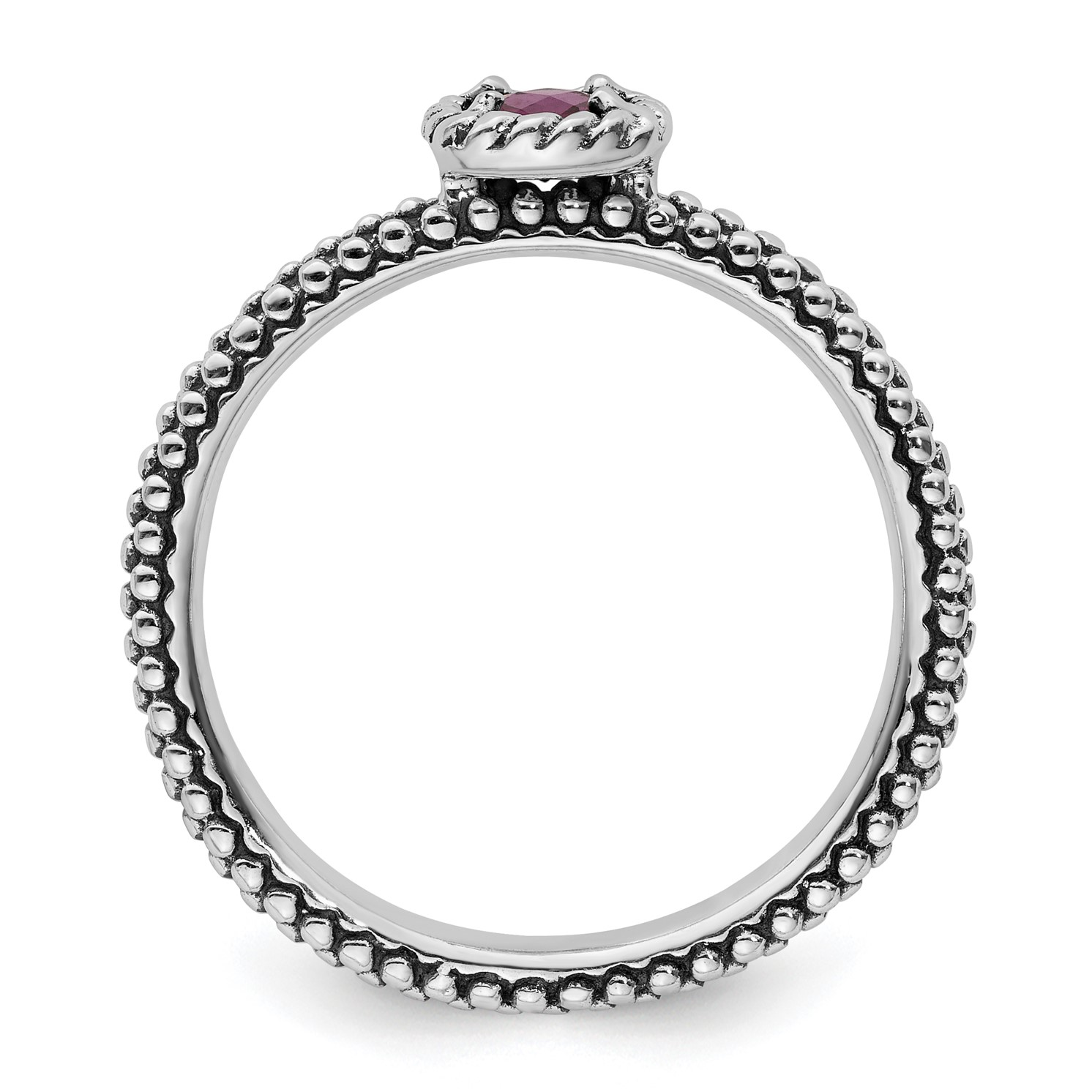 9c0b6d914d106 Details about Sterling Silver Stackable Expressions Checker-cut Rhodolite  Garnet Antiqued Ring