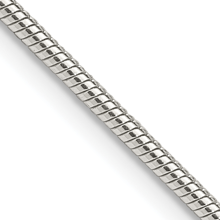 Sterling Silver 1.75mm Round Snake Chain | Weight: 10.66 grams, Length: 18mm, Width: 1.75mm