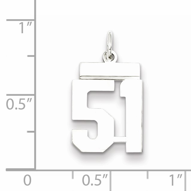 Sterling Silver Small Polished Number 51 Charm Pendant